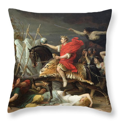 Caesar Throw Pillow featuring the painting Caesar by Adolphe Yvon