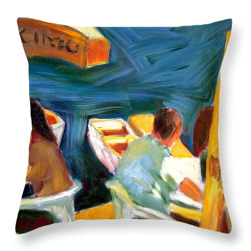 Dornberg Throw Pillow featuring the painting Cafe At Dockside by Bob Dornberg
