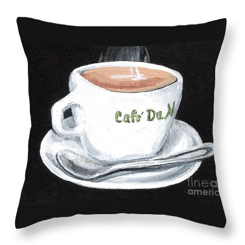 Coffee Throw Pillow featuring the painting Cafe Au Lait by Elaine Hodges