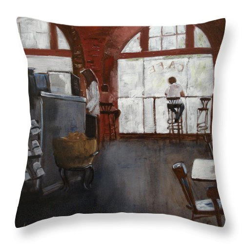 Landscape Throw Pillow featuring the painting Cafe by Barbara Andolsek