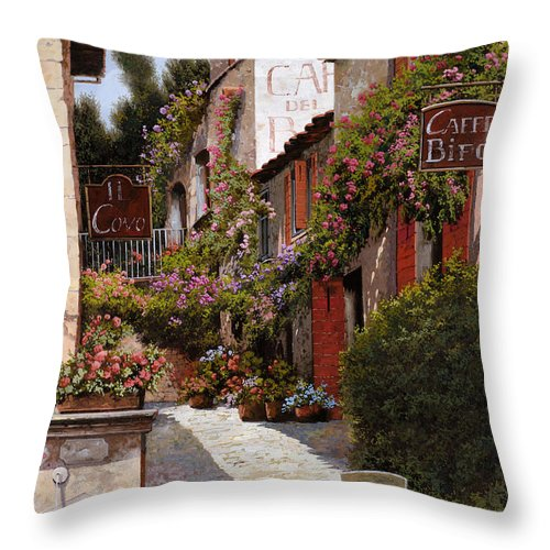 Cafe Throw Pillow featuring the painting Cafe Bifo by Guido Borelli
