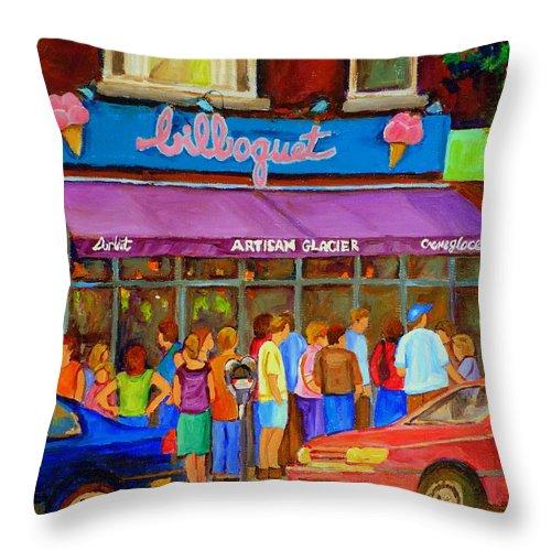 Cafe Bilboquet Throw Pillow featuring the painting Cafe Bilboquet Ice Cream Delight by Carole Spandau