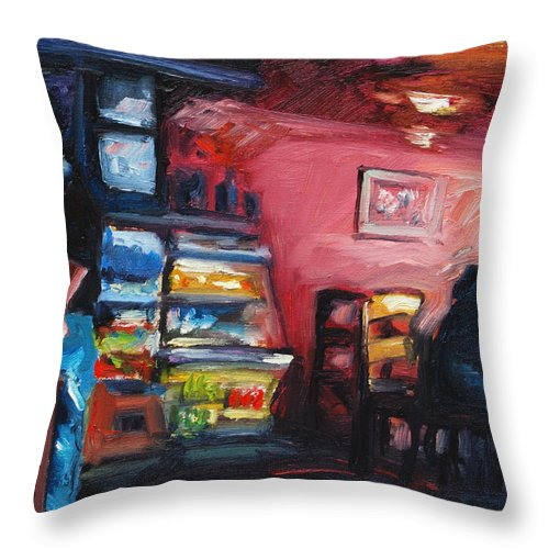 Cafe Throw Pillow featuring the painting Cafe Boulange by Rick Nederlof