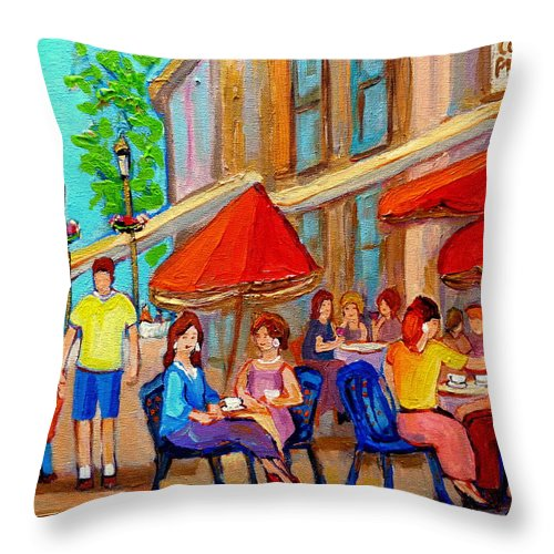 Cafescene Throw Pillow featuring the painting Cafe Casa Grecque Prince Arthur by Carole Spandau