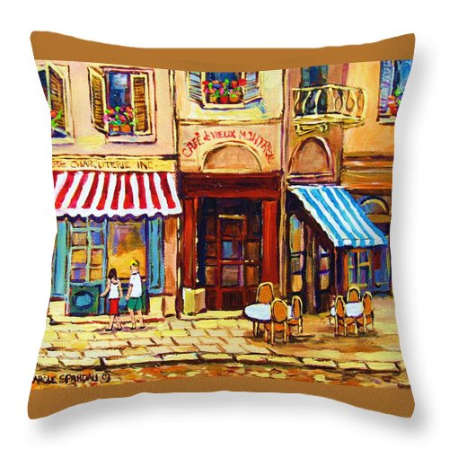 Old Montreal Outdoor Cafe City Scenes Throw Pillow featuring the painting Cafe De Vieux Montreal With Couple by Carole Spandau