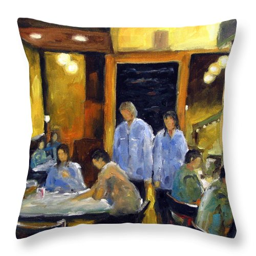 Urban Throw Pillow featuring the painting Cafe Des Artistes by Richard T Pranke