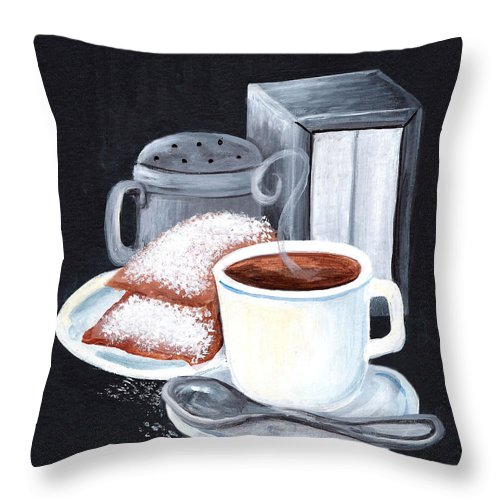 New Orleans Throw Pillow featuring the painting Cafe Du Monde On Black by Elaine Hodges