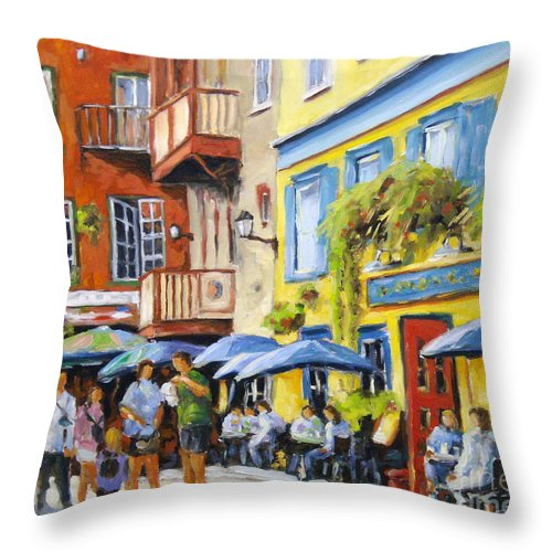Balcony Throw Pillow featuring the painting Cafe In The Old Quebec by Richard T Pranke