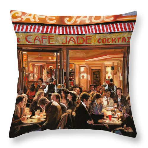 Brasserie Throw Pillow featuring the painting Cafe Jade by Guido Borelli