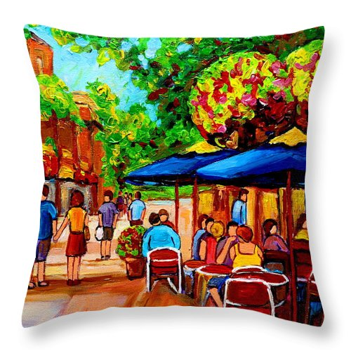 Cafe On Prince Arthur In Montreal Throw Pillow featuring the painting Cafe On Prince Arthur In Montreal by Carole Spandau