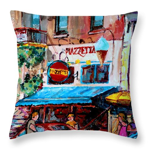 Cafes On St Denis Paris Cafes Throw Pillow featuring the painting Cafe Piazzetta St Denis by Carole Spandau