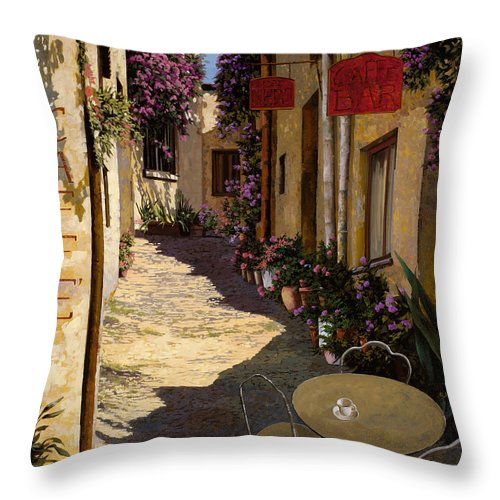 Caffe Throw Pillow featuring the painting Cafe Piccolo by Guido Borelli