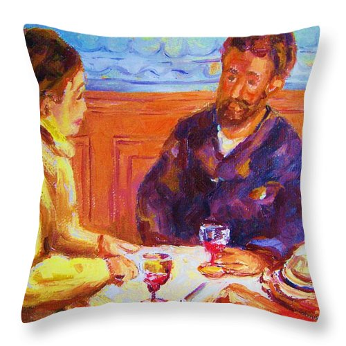Cafes Throw Pillow featuring the painting Cafe Renoir by Carole Spandau