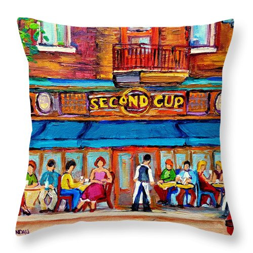 Cafe Second Cup Terrace Montreal Street Scenes Throw Pillow featuring the painting Cafe Second Cup Terrace by Carole Spandau