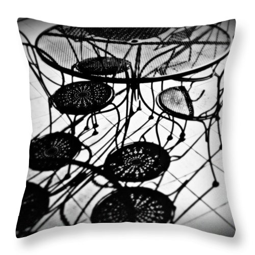 Cafe Throw Pillow featuring the photograph Cafe Table Shadows by Perry Webster