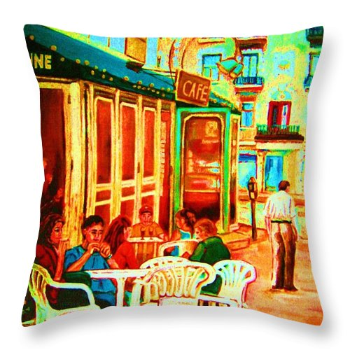 Cafes Throw Pillow featuring the painting Cafe Vienne by Carole Spandau