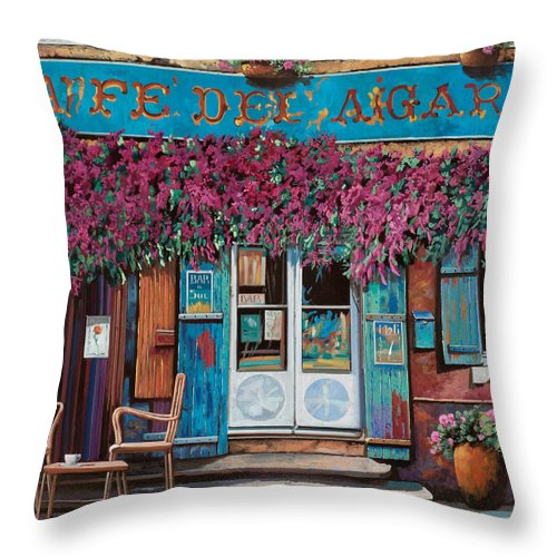 Caffe' Throw Pillow featuring the painting caffe del Aigare by Guido Borelli