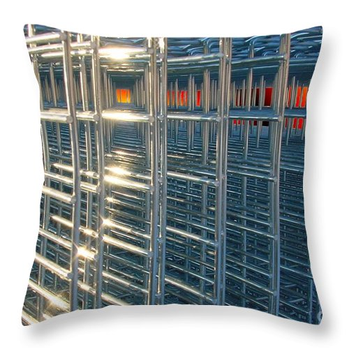 Wire Art Throw Pillow featuring the digital art Caged Fire by Ron Bissett