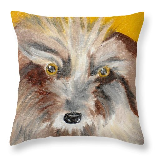 Dog Throw Pillow featuring the painting Cairn Terrier by Susan Kubes