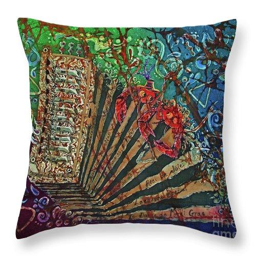 Cajun Throw Pillow featuring the painting Cajun Accordian by Sue Duda