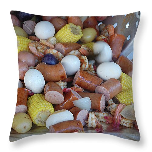 Cajun Throw Pillow featuring the digital art Cajun Cornucopia by DigiArt Diaries by Vicky B Fuller