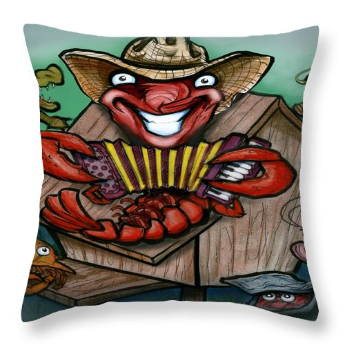 Cajun Throw Pillow featuring the greeting card Cajun Critters by Kevin Middleton