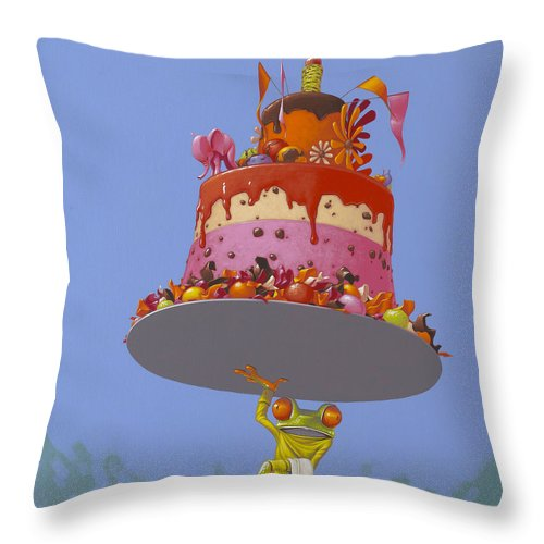 Cake Throw Pillow featuring the painting Cake by Jasper Oostland