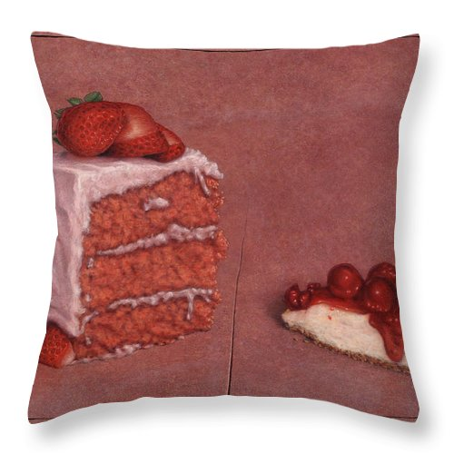 Cake Throw Pillow featuring the painting Cakefrontation by James W Johnson
