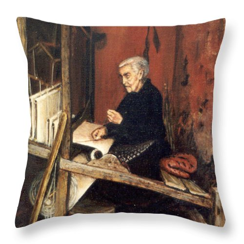 People Throw Pillow featuring the painting Calabrian Weaver by Leonardo Ruggieri