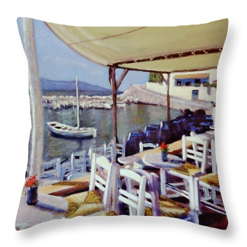 Small Cafe In The Aegean Throw Pillow featuring the painting Calamaris by David Zimmerman