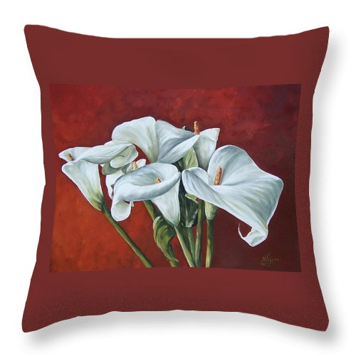 Calas Throw Pillow featuring the painting Calas by Natalia Tejera