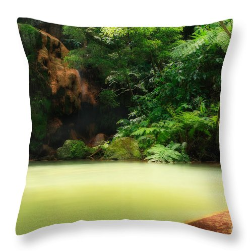 Azoren Throw Pillow featuring the photograph Caldeira Velha Thermal Pool by Gaspar Avila