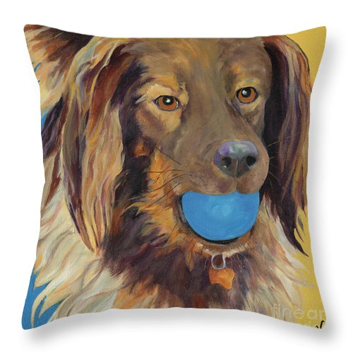 Dog Art Throw Pillow featuring the painting Caleigh by Pat Saunders-White