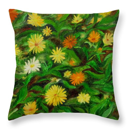 Calendula Throw Pillow featuring the painting Calendula by FT McKinstry
