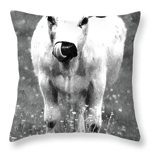 Calf Throw Pillow featuring the digital art Calf by Anna J Davis