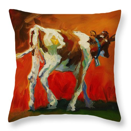 Painting Throw Pillow featuring the painting Calf Baby by Diane Whitehead