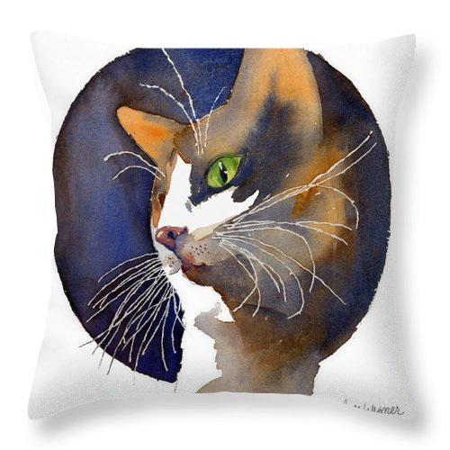 Cat Throw Pillow featuring the painting Calico by Arline Wagner
