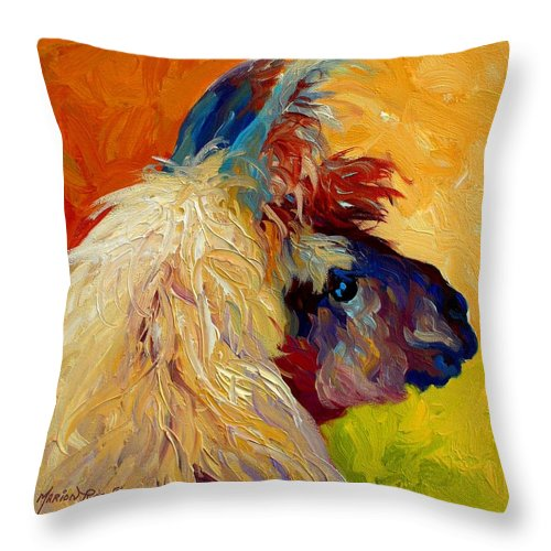 Llama Throw Pillow featuring the painting Calico Llama by Marion Rose