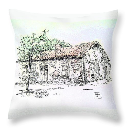 Adobes Throw Pillow featuring the painting California Adobe by Roberto Prusso