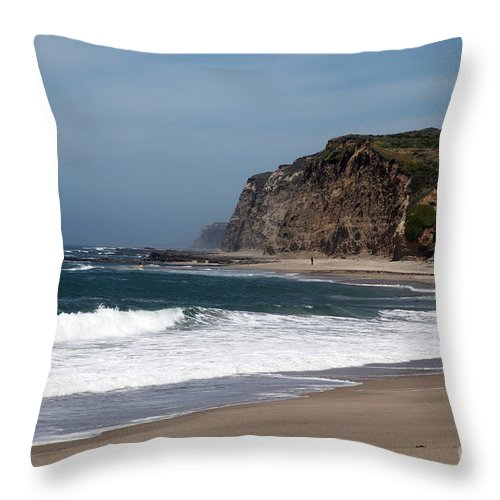 California Throw Pillow featuring the photograph California Coast - Blue by Amanda Barcon