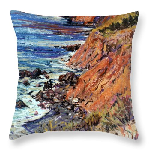 Big Sur Throw Pillow featuring the drawing California Coast by Donald Maier