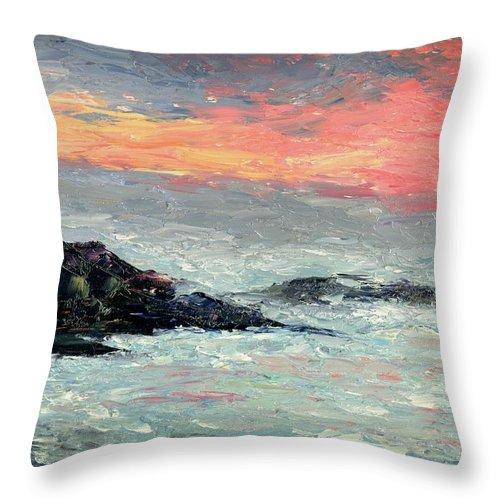 Seascape Throw Pillow featuring the painting California Coast by Gail Kirtz