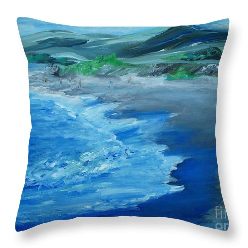 California Coast Throw Pillow featuring the painting California Coastline Impressionism by Eric Schiabor