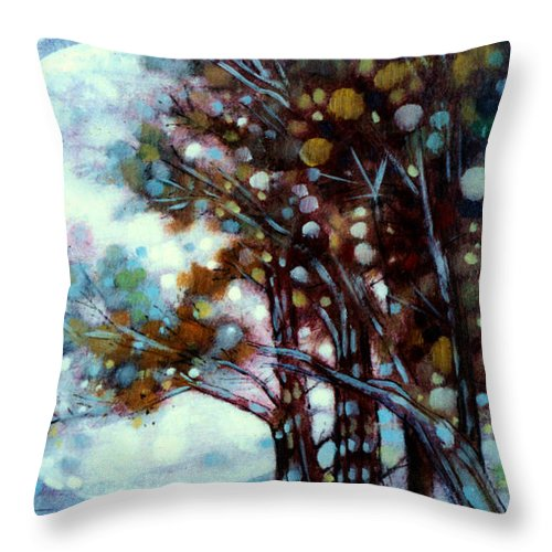 Landscape Throw Pillow featuring the painting California Cypress by John Lautermilch
