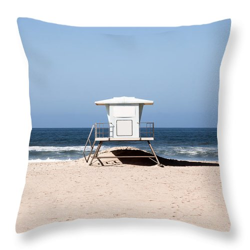 America Throw Pillow featuring the photograph California Lifeguard Tower Photo by Paul Velgos