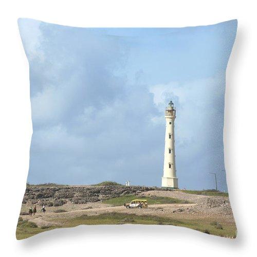Aruba Throw Pillow featuring the photograph California Lighthouse by Thomas Marchessault