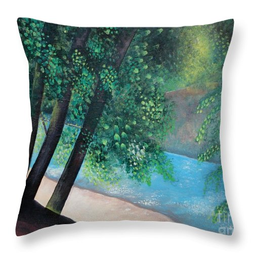Landscape Throw Pillow featuring the painting California Magic by Helena Tiainen