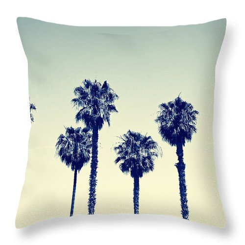 California Throw Pillow featuring the photograph California Palm Trees by Anna Floridia