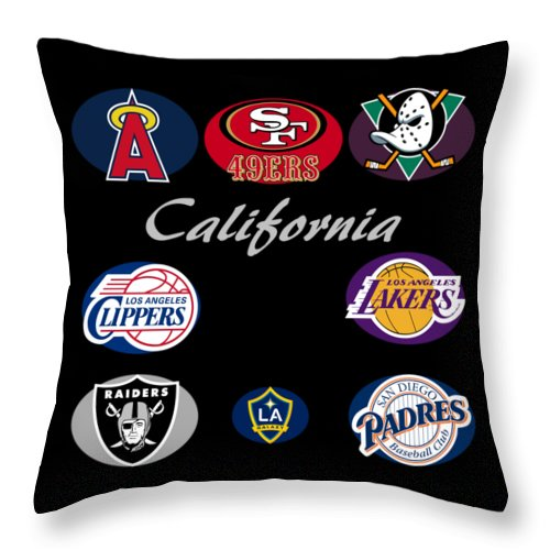 California Throw Pillow featuring the digital art California Professional Sport Teams Collage by Movie Poster Prints