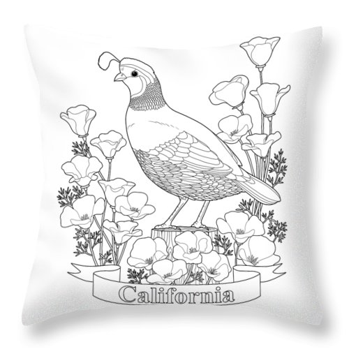 California State Bird And Flower Coloring Page Throw Pillow For Sale